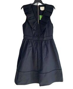 NWT-Kate-Spade-Ruffle-Neck-Dress-Fit-amp-Flare-Cotton-Elastane-Washable-SZ-4-or-6