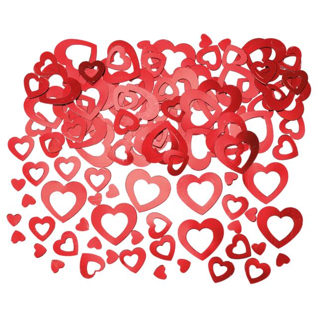 Kunststoff 15 g rot Herz-Konfetti // Party-Konfetti // Streudeko metallic