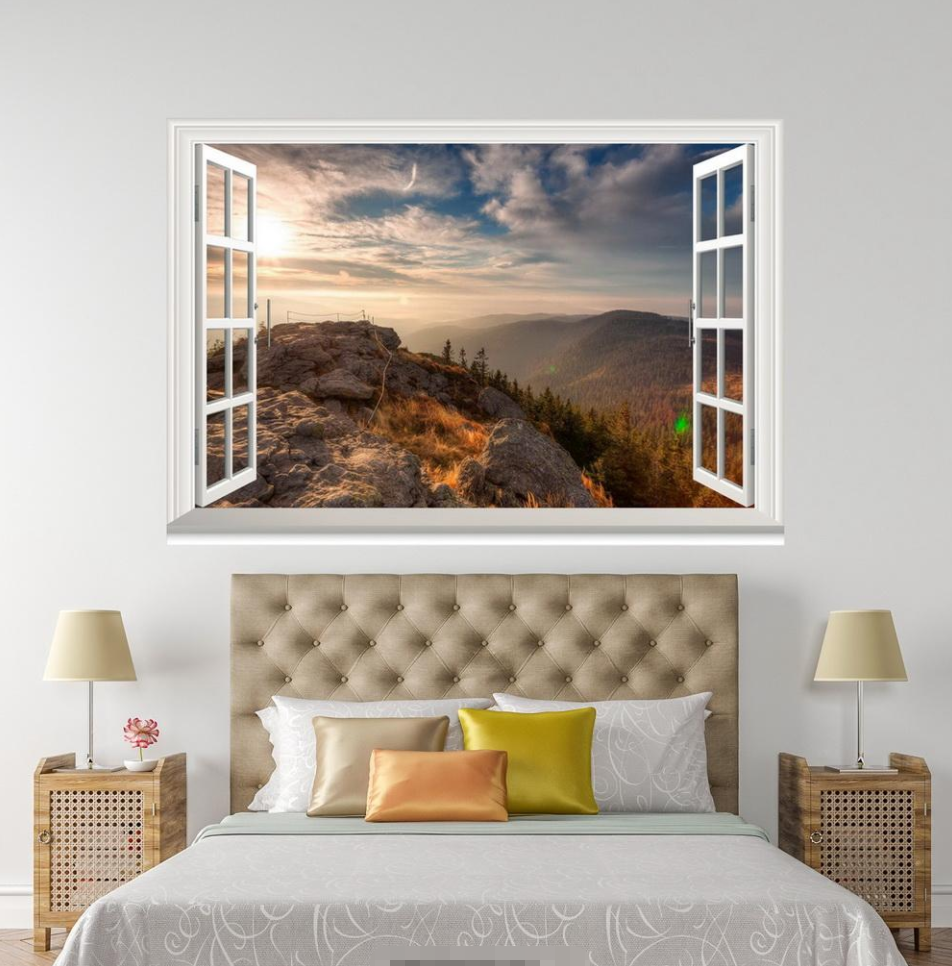3D Cloud Hills View 044 Open Windows WallPaper Murals Wall Print AJ Jenny