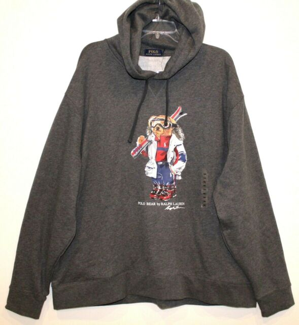 Polo Ralph Lauren Big & Tall Mens 2XB Gray Ski Bear Hoodie Sweat Jacket NWT 2XB
