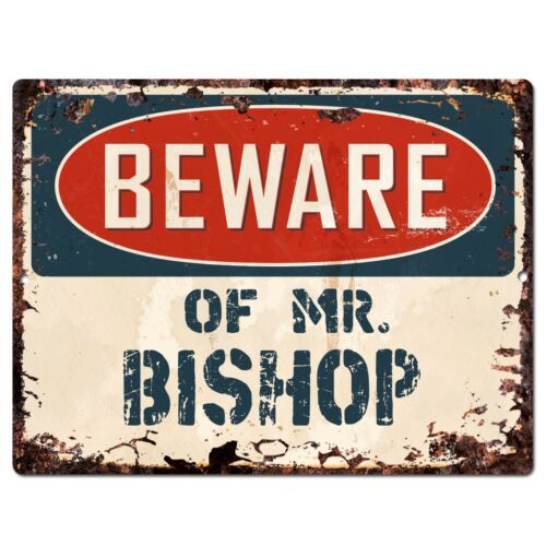 BISHOP Plate Chic Sign Home Store Wall Decor Funny Gift PP2706 BEWARE OF MR
