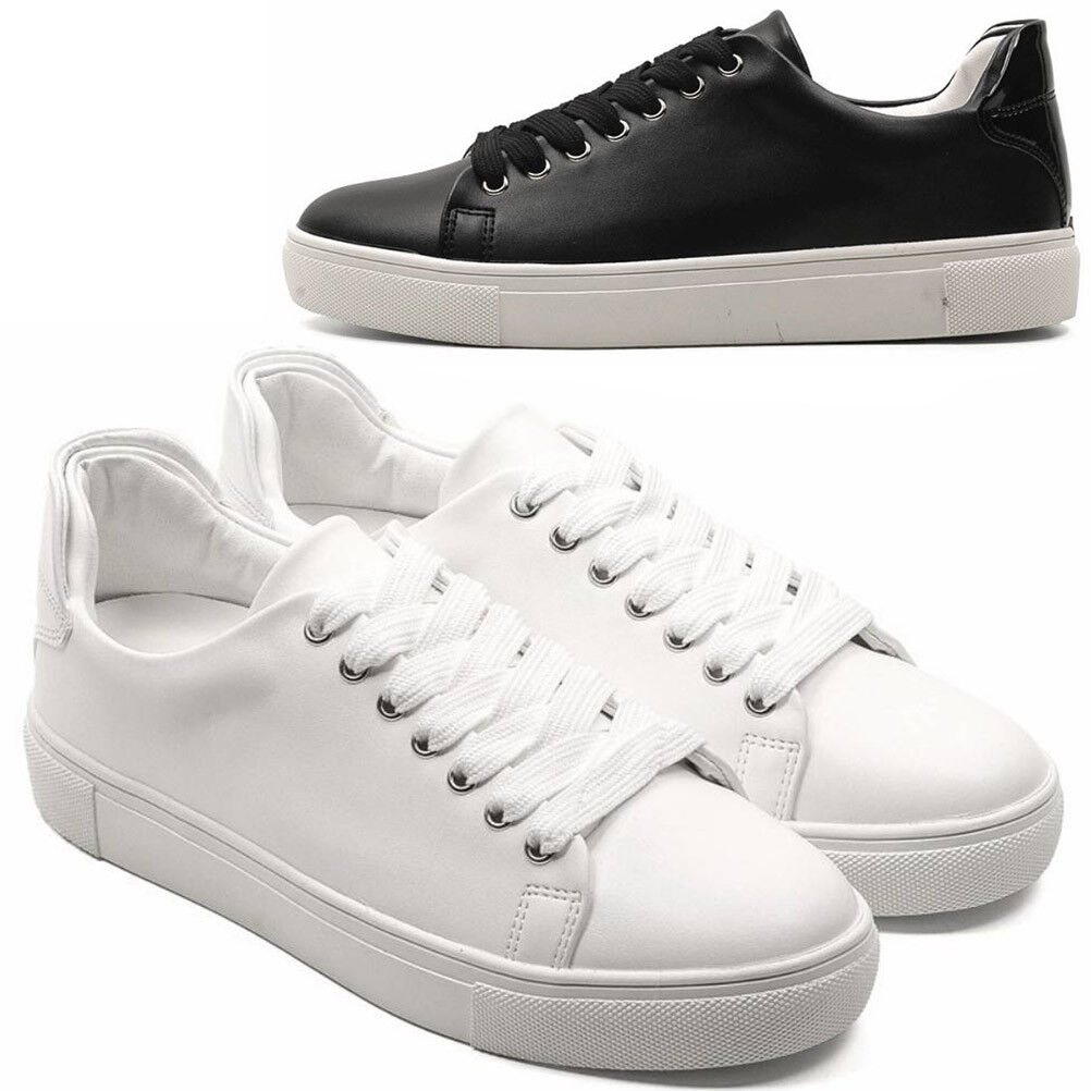 New Mens Casual Simple Leather Lace Up Tennis Fashion Sneakers shoes