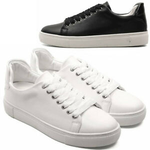 new mens casual simple leather lace up tennis fashion