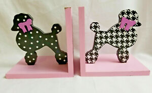 2-Wood-Poodle-Bookends-Figurine-Statue-Puppy-Dog-Pink-Black-White