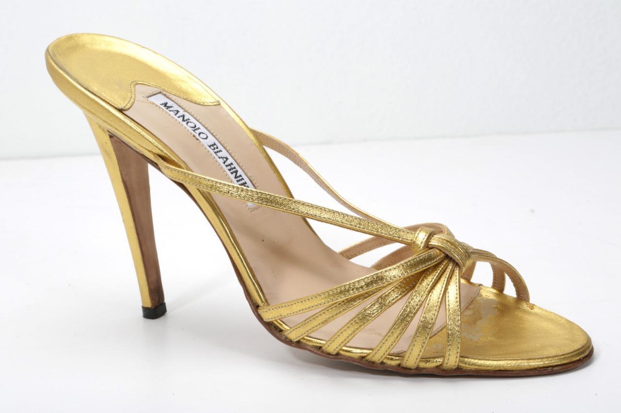 MANOLO BLAHNIK oro Cuoio  alto Heel Open -Toe Strappy Sandal Pump Slides 10 -40  Sconto del 60%