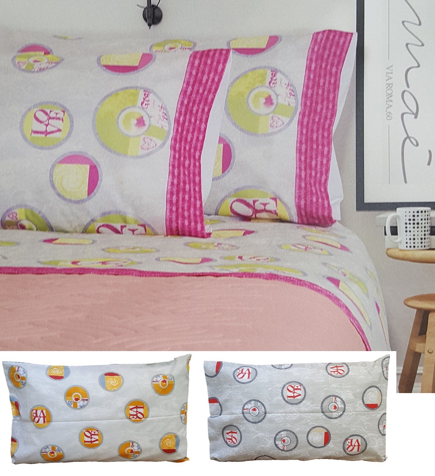 St Sheets MAE,' FORCE. Double, 2 squares 100% Cotton 150 Wires INCH