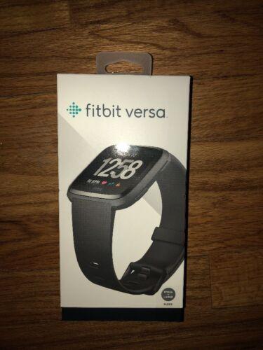 NEW SEALED FB504GMBK S /& L Bands Incl. Fitbit Versa Smartwatch BLACK ALUMINUM