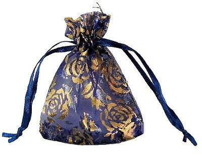 Contemplative Organza Bag Deep Blue W/gold Flowers 7x9cm Party Wedding Gift Jewelry Favor 20ct Home & Garden