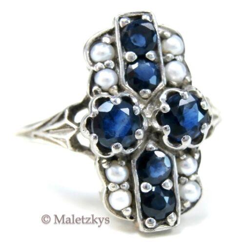 54 Echter Saphir Ring mit Saatperlen aus Silber 17,2 mm Gr Saphire /& Perlen