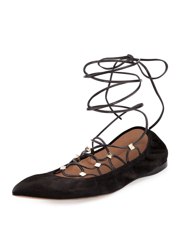 New Valentino Garavani Rockstud Lace-Up negro suede ballerina Flat Talla 40.5