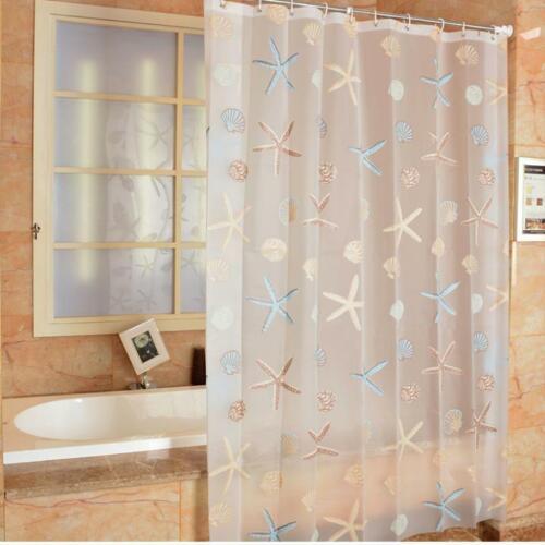 Starfish Shower Curtain PEVA Curtain Sea Theme for Bathroom Waterproof