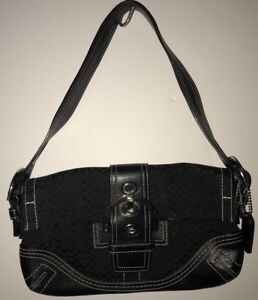 d52cf3943d COACH Signature C Black Leather   Fabric Small Shoulder Bag Purse ...