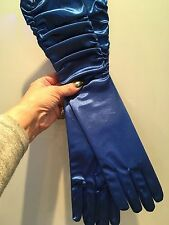 LONG ROYAL BLUE SATIN EVENING GLOVES  RUFFLED PLEATED / CLASSIC OPERA CHIC