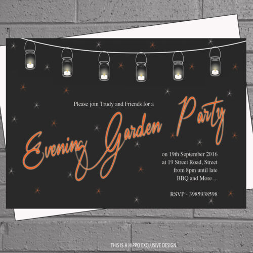 envs H1114 12 x Personalised Birthday Invites Evening Garden Party Celebration