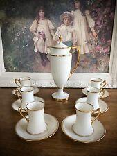 Antique Lenox Art Deco Chocolate Pot Coffee Pot w/ Cups & Saucers Old Green Mark