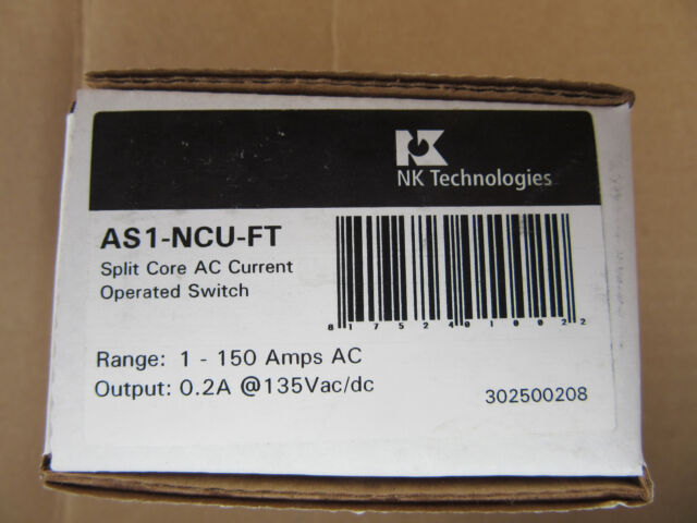 NK Technologies AS1-NCU-FT Split Core AC Current Sensing Switch 1-150A New