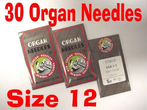 30 Organ Sewing  Machine Needles 15x1  size 12