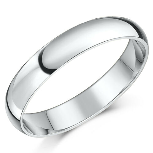 18ct White Gold Ring Extra Heavy D Shaped Wedding Ring Band