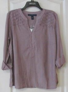 69c1f174fbfdca Bandolino Trinity Roll Tab Long Sleeve Top Cabernet Fig Women s Sz L ...