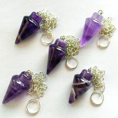 5pcs Mixed Gemstone Pendulum Pendant Bead