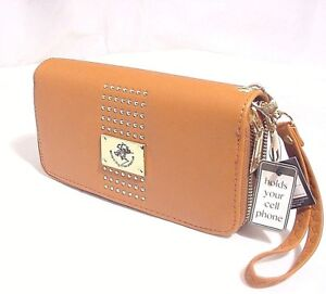 Beverly Hills Double Zip Wristlet Clutch  LADIES Wallet FAUX LEATHER IN TAN#699