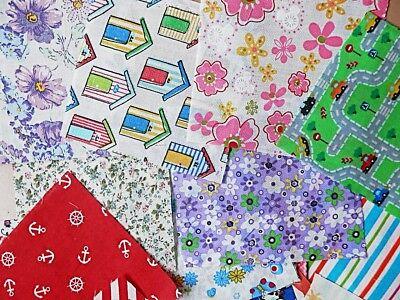 40 x Patchwork Bundle Fabric Polycotton Scraps Joblot Mixed Craft Bunting