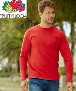 T-SHIRT-FRUIT-OF-THE-LOOM-VALUEWEIGHT-MANICA-LUNGA-165-gr-100-COTONE-MAGLIETTA
