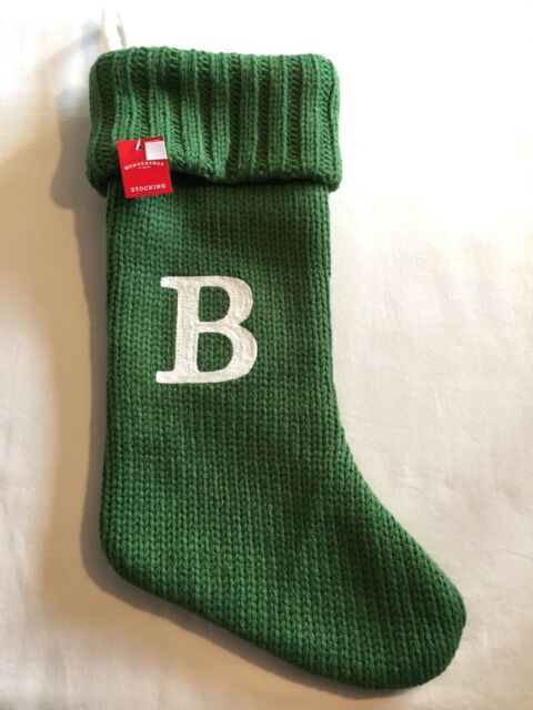 target christmas stocking initial letter b green thick knit monogram 20 nwt