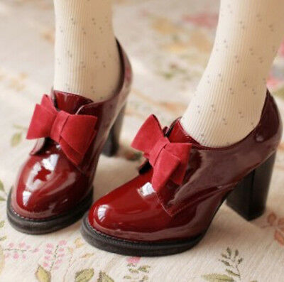 Womens Thick Heel Plus Size Pumps Bowknot Retro Vintage 2017 New Red Chic Shoes