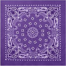 "Purple Trainmen Cotton Paisley Biker Sport Bandana 27"" x 27"""
