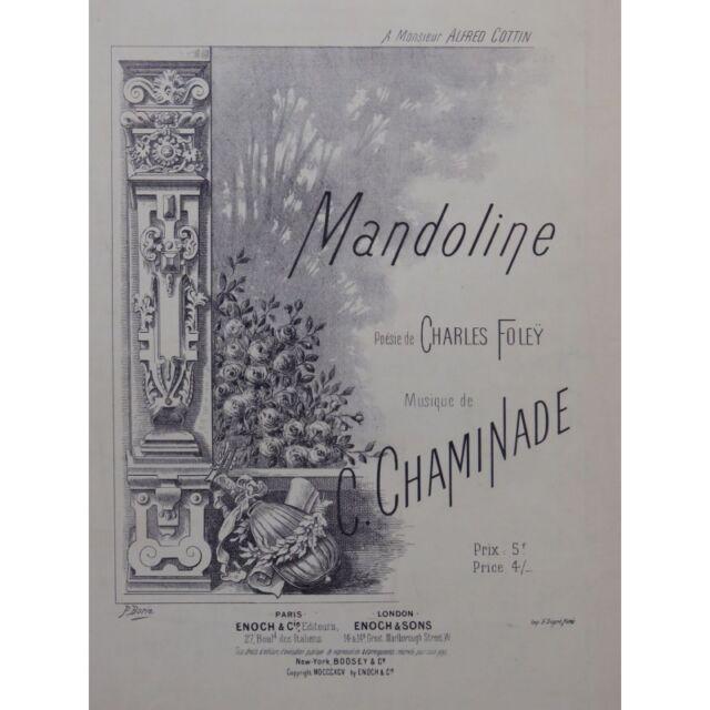 Chaminade Cecile Mandoline chant Piano 1895 Partitur Sheet Music Score