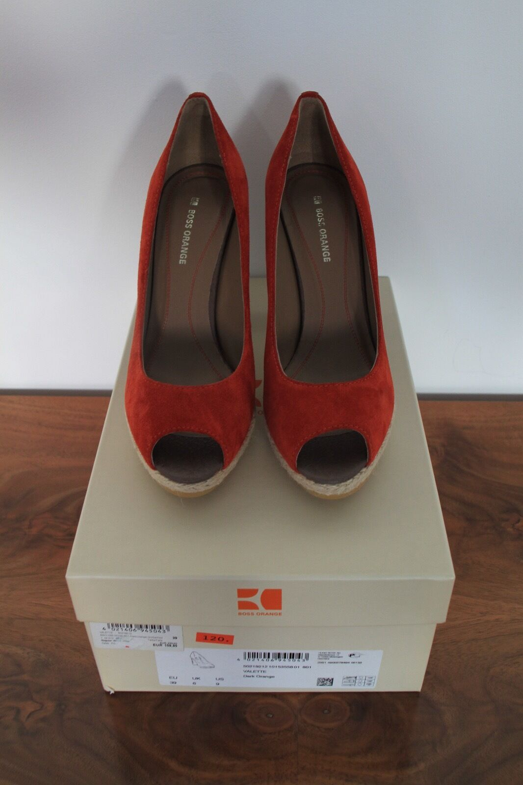 Hugo Boss Orange Pumps Peep Toes Plateau Wildleder High Heels Neu Gr. 39