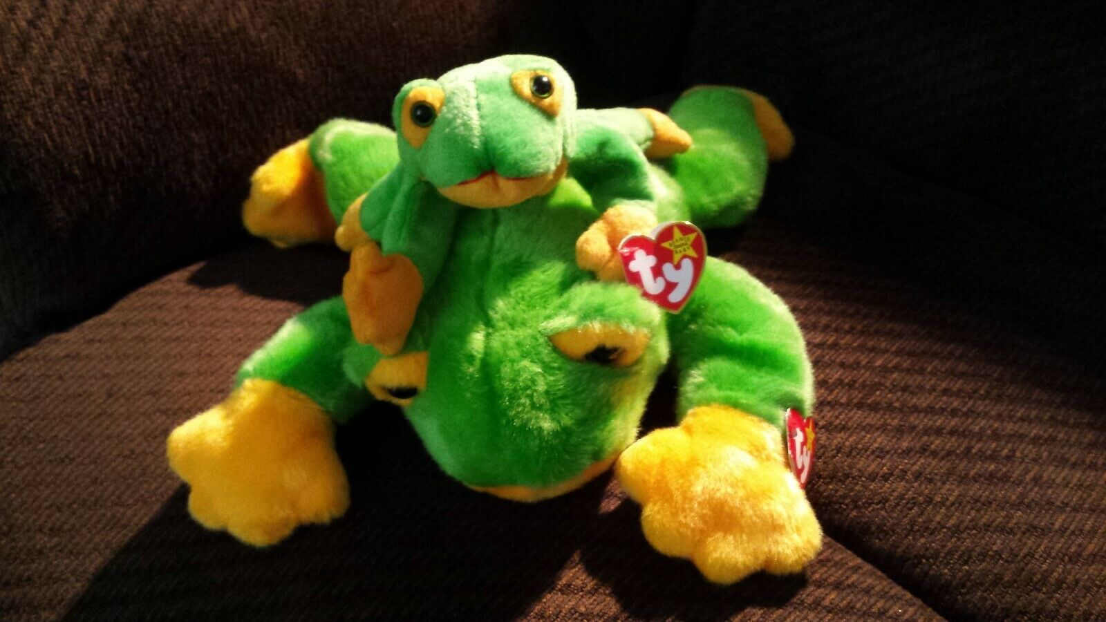 Rare Retired Smoochy Beanie Baby W One Line Mouth and PVC Pellets AND Buddy