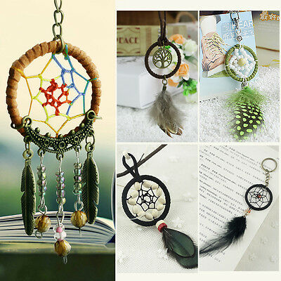 Dream Catcher Feather Pendant Bags Key Chain Keyring Ring Keychain Keyfob GIFT