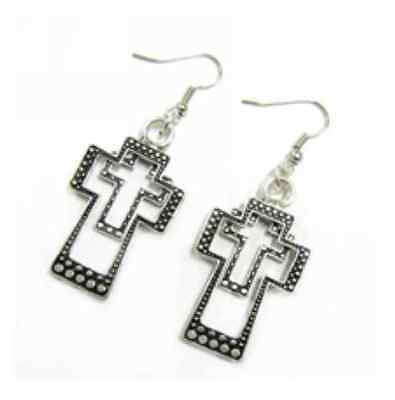 Double Cross Earrings Silver Color  Free Shipping Fashion Jewelery