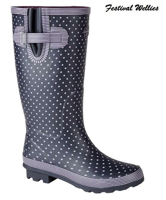 Wellies Stormwells Ladies Navy Polka Dot Tall Rain Festival Wellingtons Size 3-9