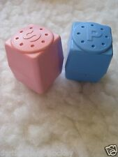 FISHER PRICE FUN FOOD ● PINK + BLUE  SALT AND PEPPER SHAKERS 1992 ● EXCELLENT