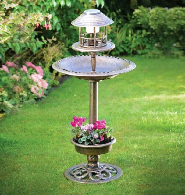 3 In 1 Bird Bath With Solar Light Planter White Led Light Bronze