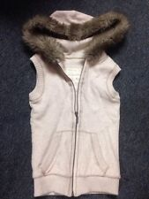 Aeropostale Hoodie Vest Off White Cream Color Fur Xs Zip Up Pockets