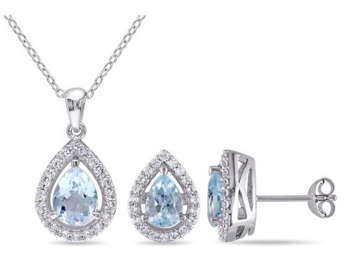 ctw Blue Topaz Drop Earrings /& Pendant Sterling Silver 3.20 Carat