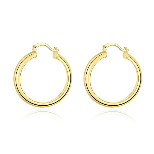 14k Yellow Gold Plated2mm Thick Small Clic Polished Hinged Hoop Earrings 34mm