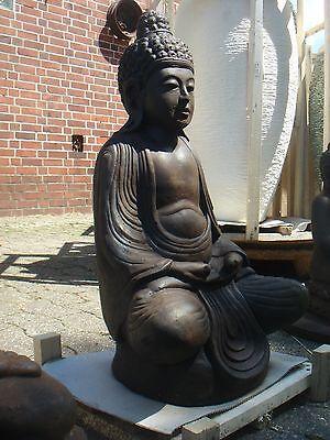 Buddha meditierend Buddha Steinfigur Bali massiv 40 cm XL Garten Teich frostfest
