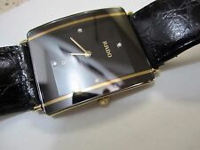 Rado Diastar Jubile 18K PVD Man 4 Diamond Accent Leather Rado Band Watch