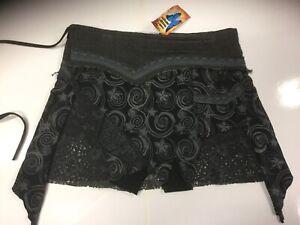 New-ladies-Black-Mini-Hippie-Boho-Cotton-Festival-Wrap-around-Pixie-Skirt-S-M