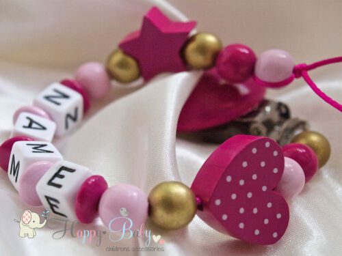 Ideal Girl Gift Personalised Wooden Dummy Clip//Chain Heart with Dots