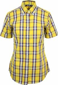 aa6ed4d17 Image is loading Relco-Womens-Yellow-Blue-Tartan-Check-Short-Sleeve-