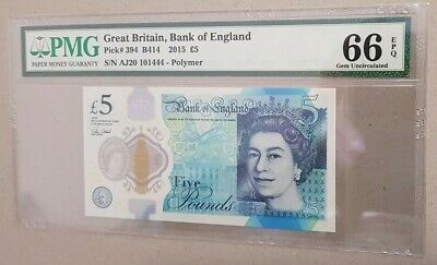 Pick 394 2016 Polymer UNC GREAT BRITAIN 5 Pounds 2015