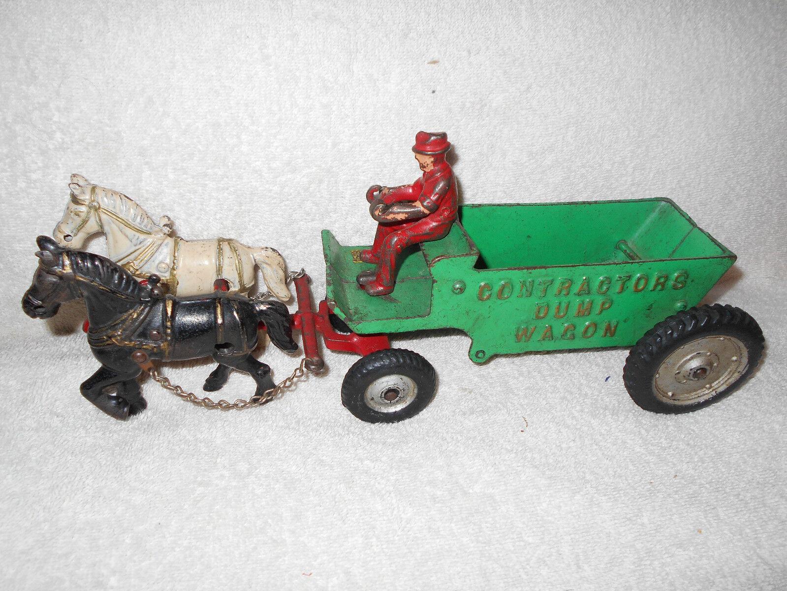13 in Arcade Cast Iron Contractors Dump Wagon w/Two Horse Drawn & Driver ORIG
