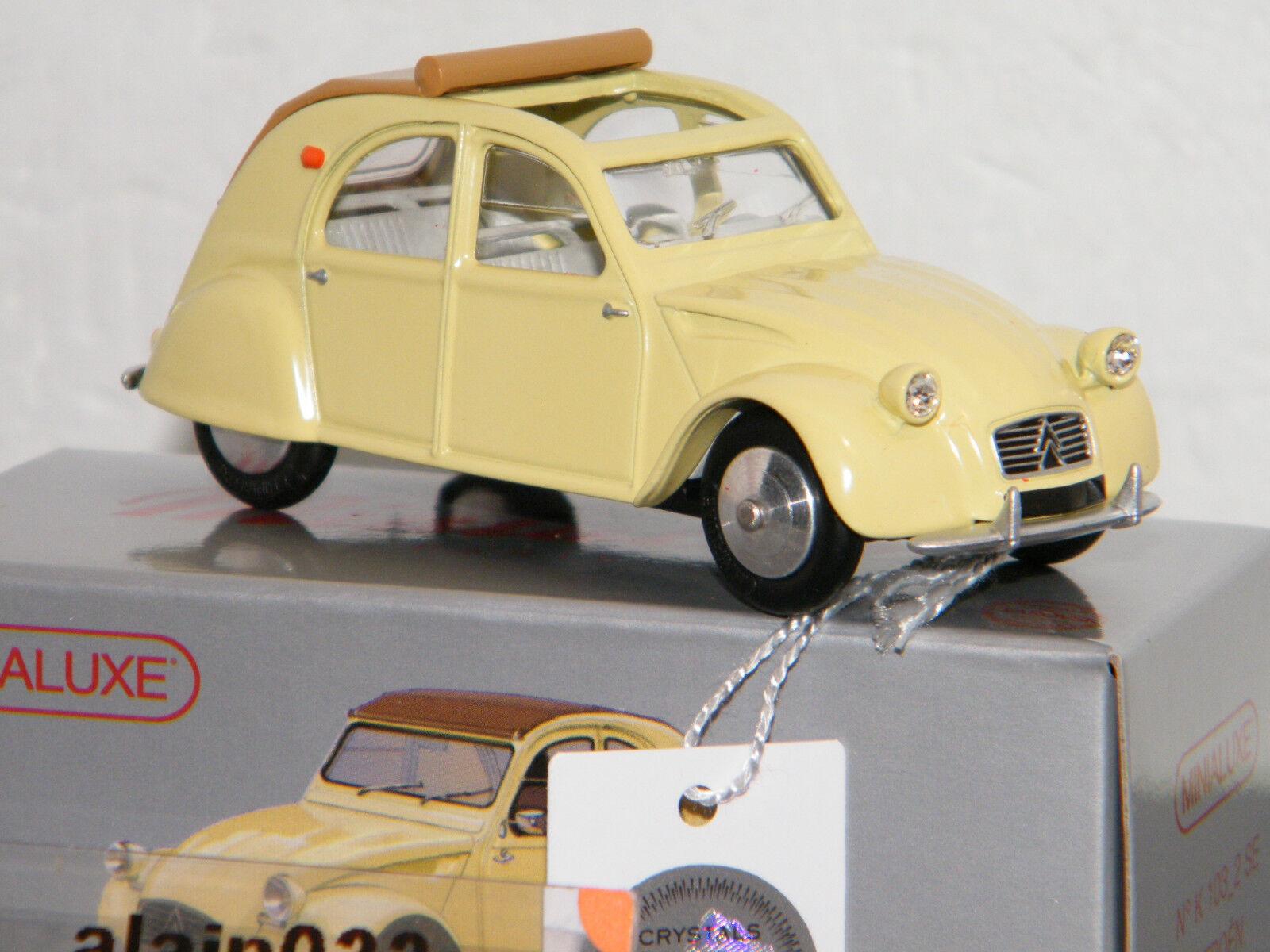 Citroën 2 CV jaune capote enroulée by Minialuxe France  1 43 Ref K103_2 SE-238  sortie d'exportation