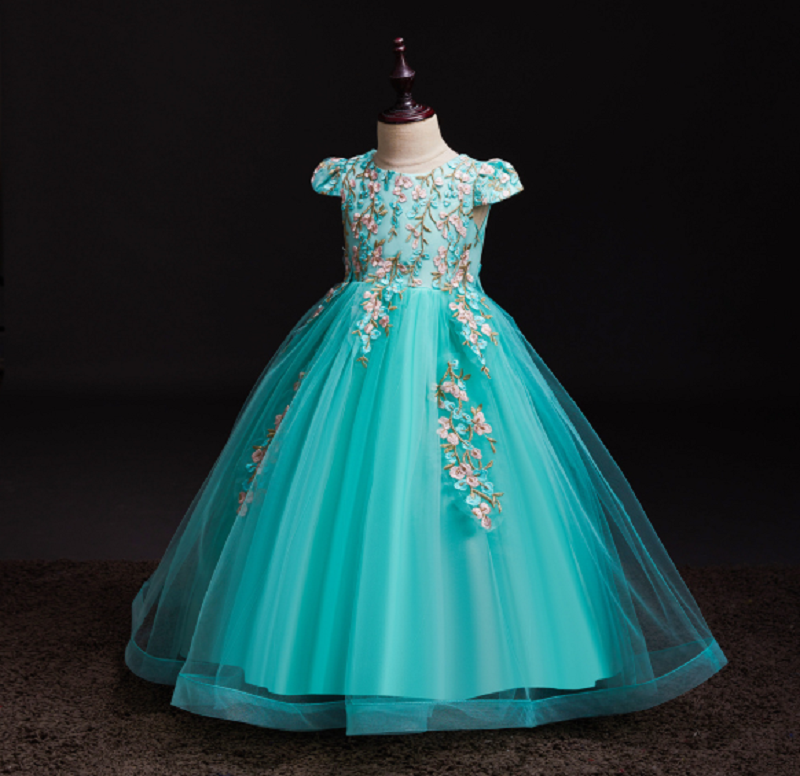 Baby Girl Embroidered Tutu Formal Dresses Graduation Party Wedding Gown